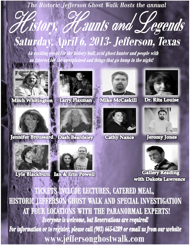 Jefferson Texas Ghost Walk http://blog.bedandbreakfastjeffersontx.com/2013/03/spring-history-haunts-and-legends-is.html