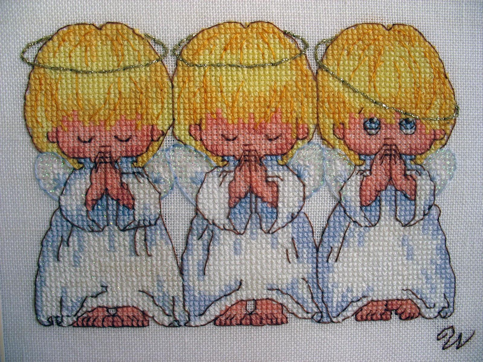 Вышивка крестом три ангела