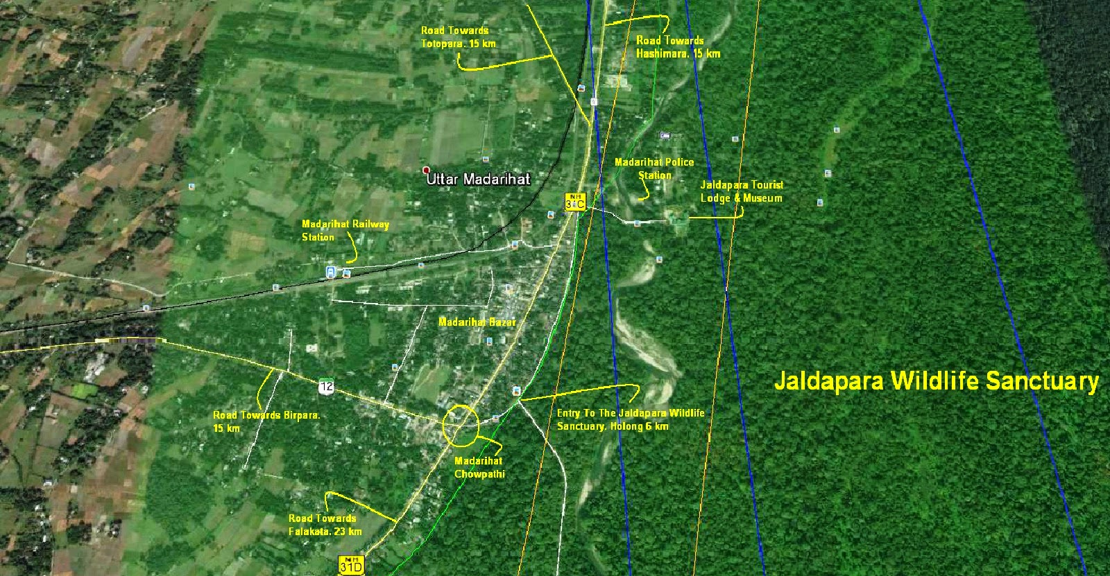 Travelling informations of Top Dooars locations like Jaldapara