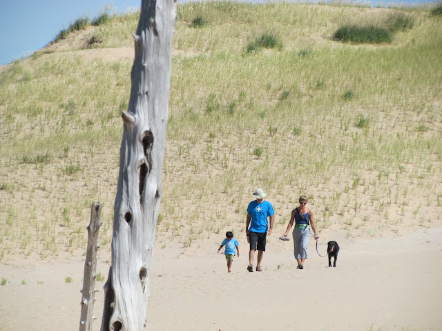 Family hike up Dune at Ghost Forest, Sleeping Bear Dunes (photo by J. Schechter)