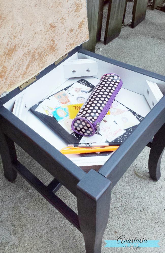 annie sloan graphite painted chair under seat storage