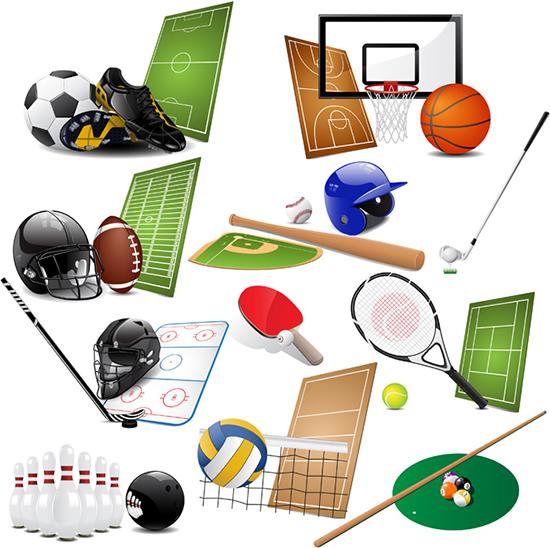 equipamientos para deportes - vector