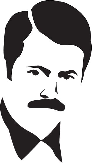 Ron Swanson Face Outline