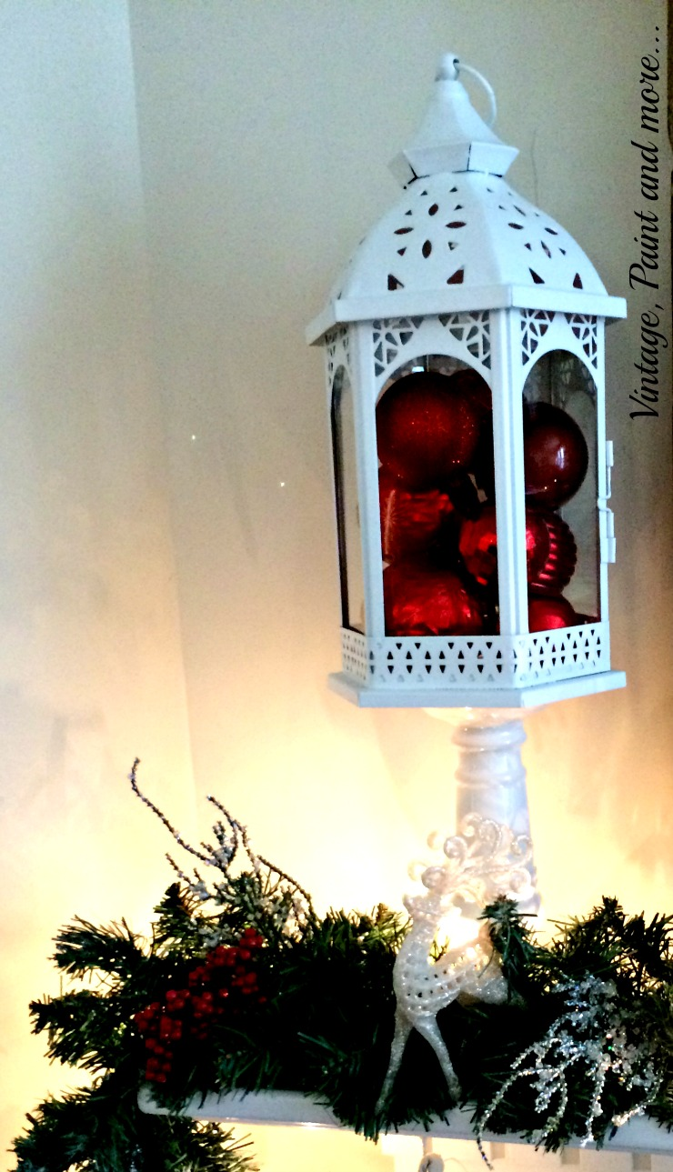 Vintage, Paint and more... snow mantel decor with white lantern filled with red ornaments