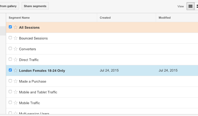 Comparing traffic segments Google Analytics