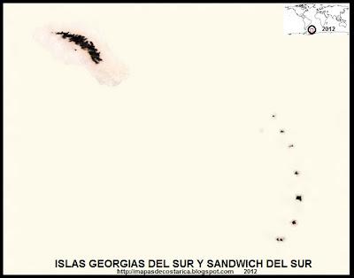 Vista aerea de ISLAS GEORGIAS DEL SUR Y SANDWICH DEL SUR , Antartida, BING, blanco y negro