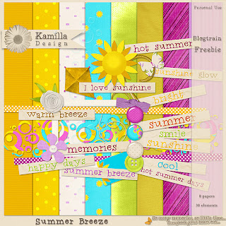 "Free scrapbook kit ""Summer breeze"" from Kamilla Design"