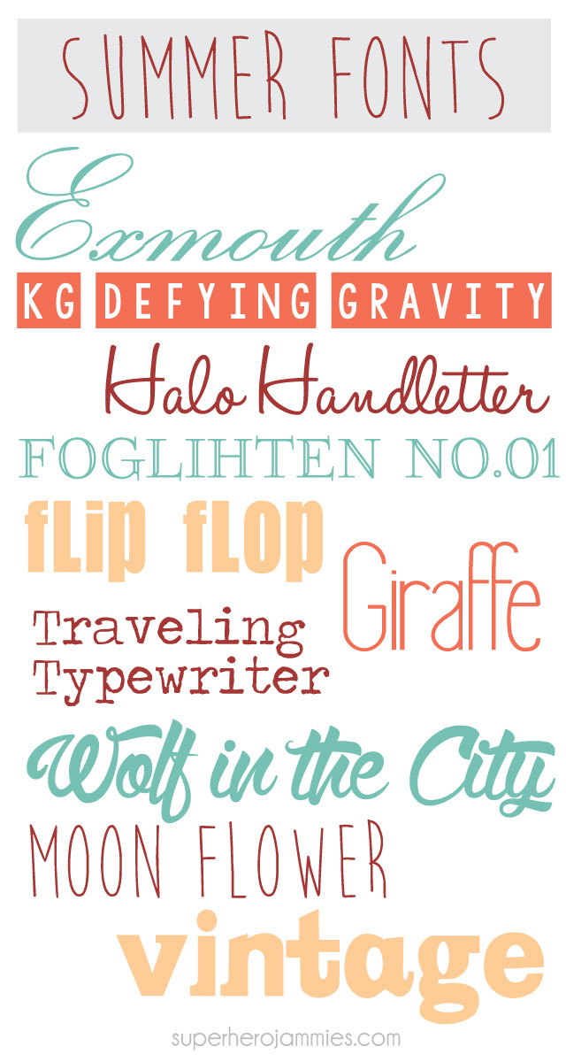 Favorite Free Summer Fonts