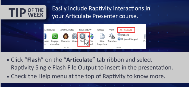 Tip of the Week: Integrate Raptivity with Articulate Presenter '13