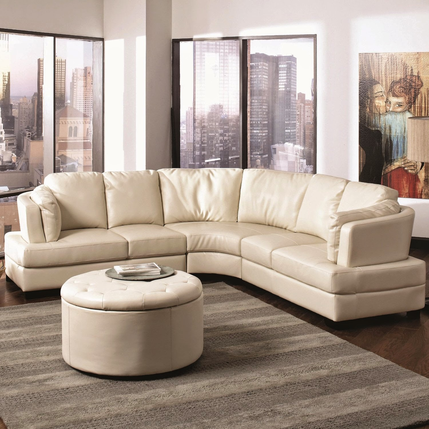 Landen Cream Curved Leather Sofa Contemporary