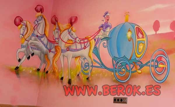 Mural carroza de calabaza con caballos de Cenicienta