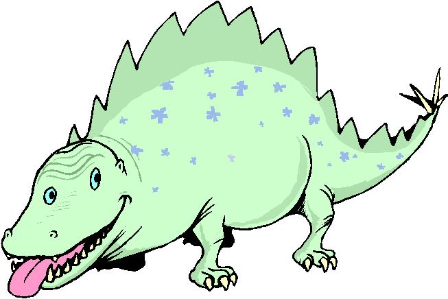 Funny Fantasy Green Dinosaurs Free Clipart