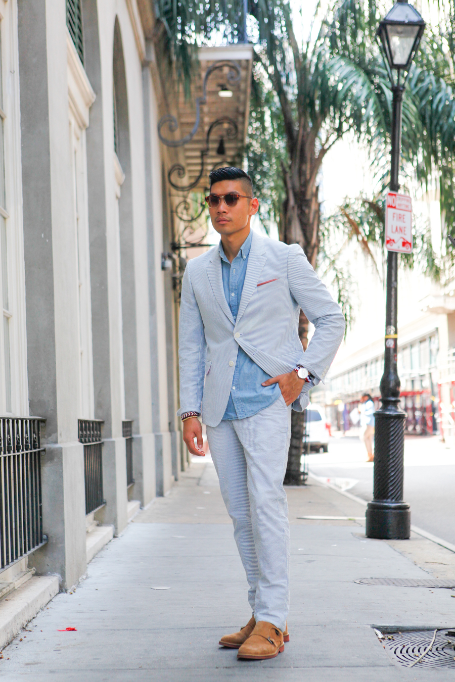 Levitate Style - Haspel Days | Haspel Seersucker Suit at Hyatt French Quarter in New Orleans, menswear, Leo Chan, Alicia Mara