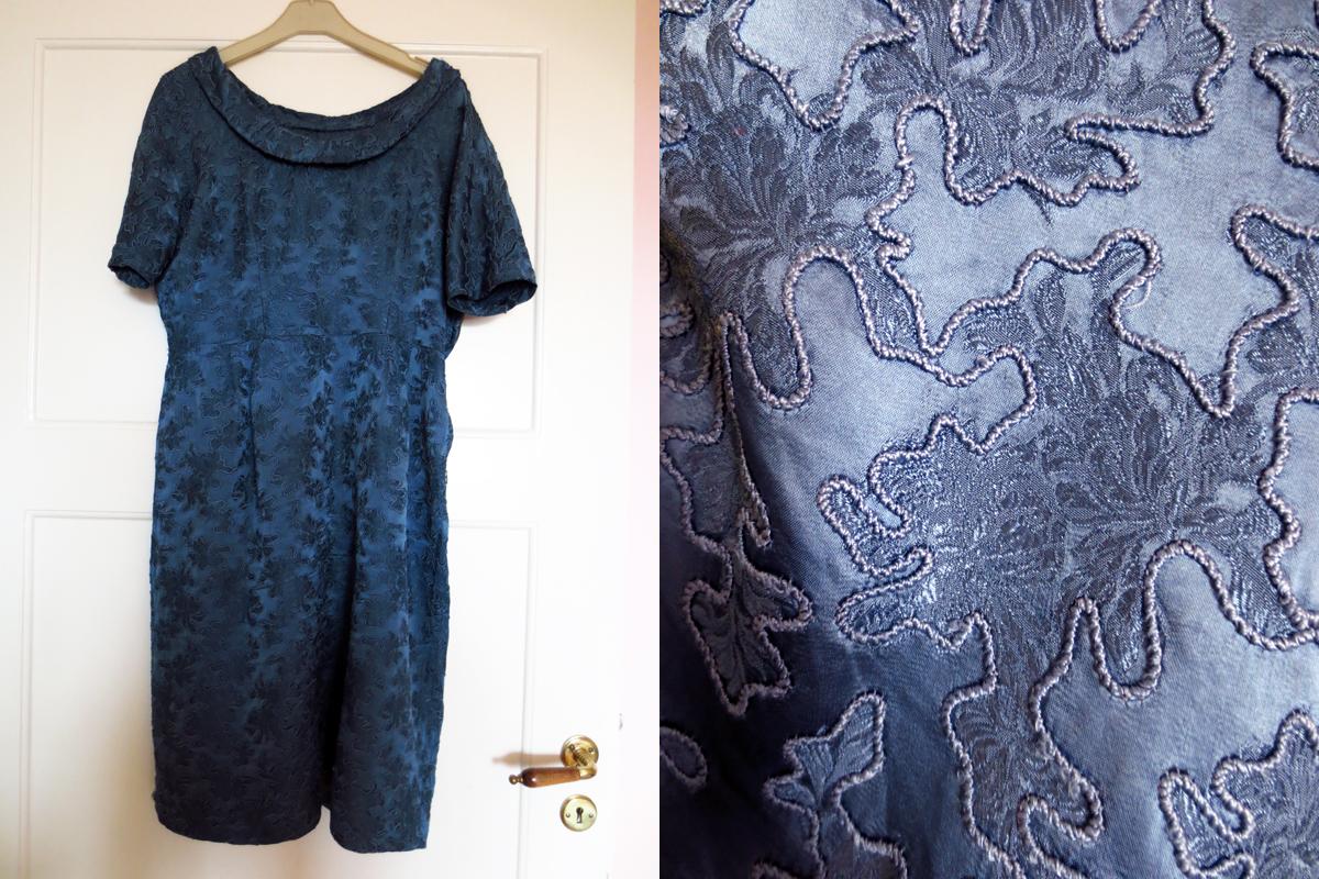 Vintageklänning brokad soutage siden crêpe satin
