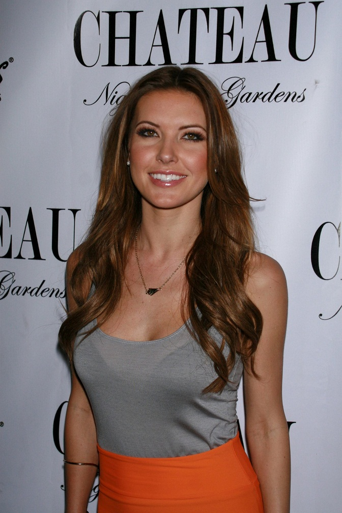 Audrina Patridge In A See Through Top And Orange Mini Skirt In Las