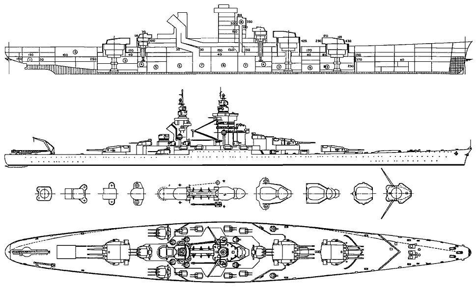 alsace class battleship with 3x4 15in guns