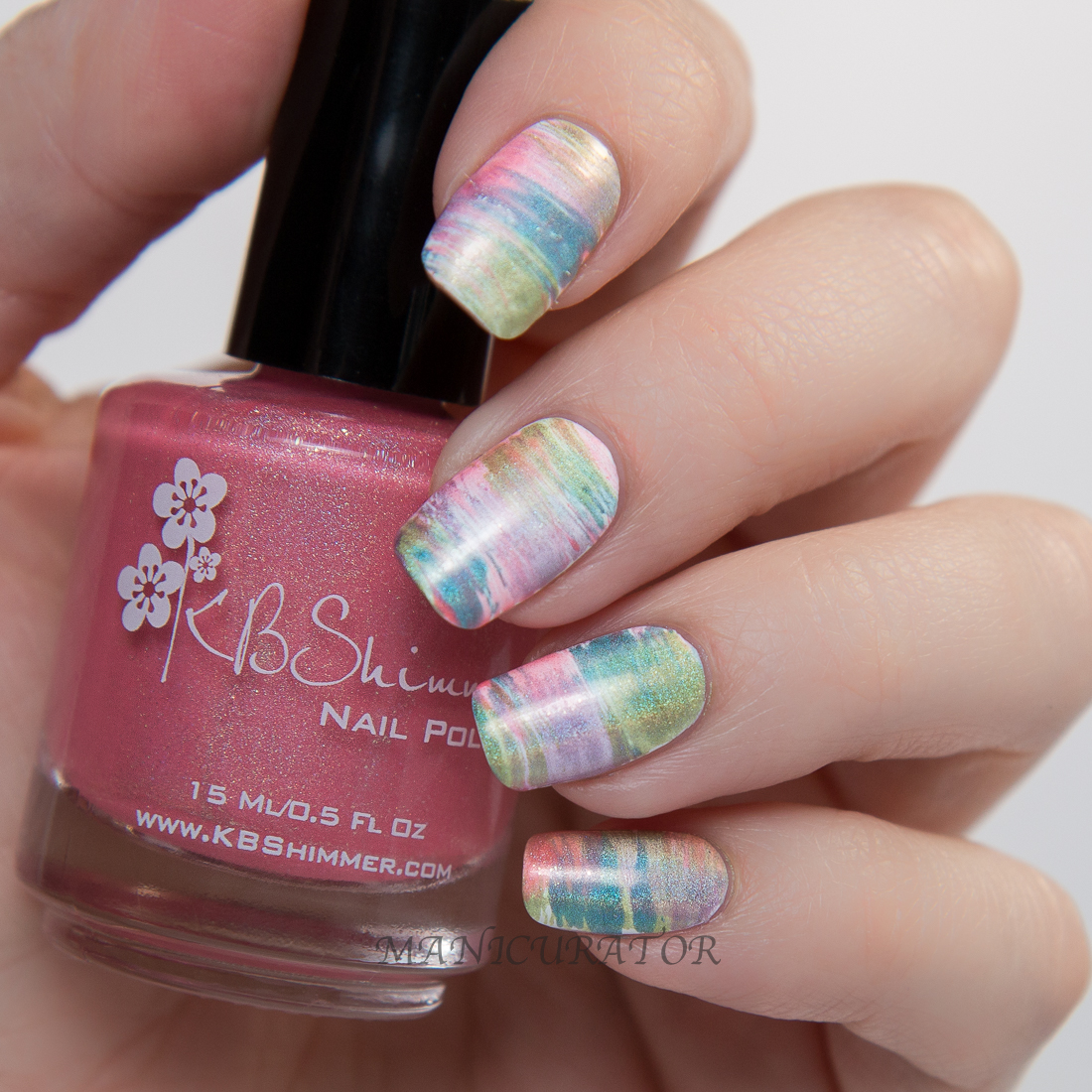 KBShimmer-Spring-To-Peach-His-Own-fan-brush-flower-nail-art