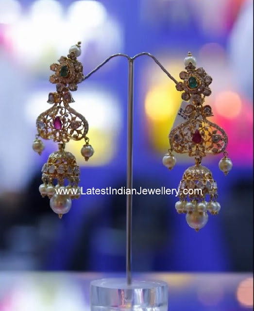 polki diamond gold earrings