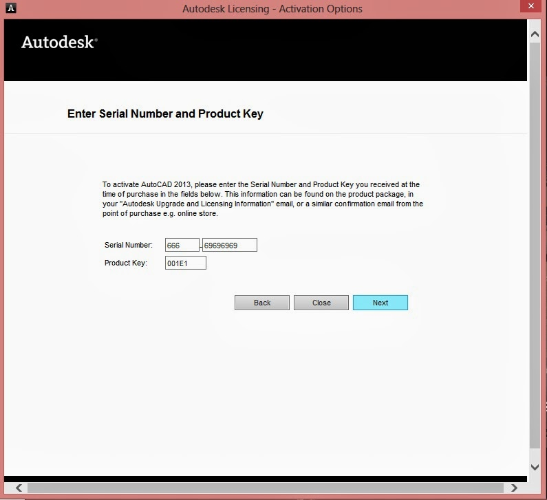 autocad 2013 product key
