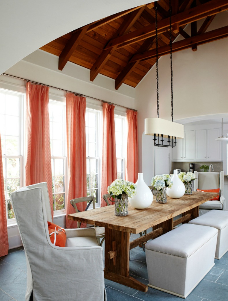 beautiful coral and white coastal dining room