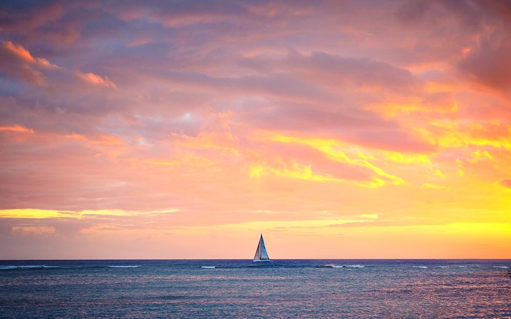 sunset at Hilton Hawaiian Villege, Honolulu