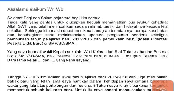 Contoh Pidato dan Kata Sambutan MOS SD, SMP, SMA ...