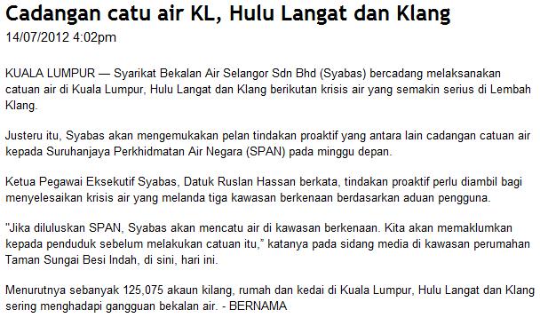 Cadangan Catuan Air Di KL, Hulu Langat, Klang