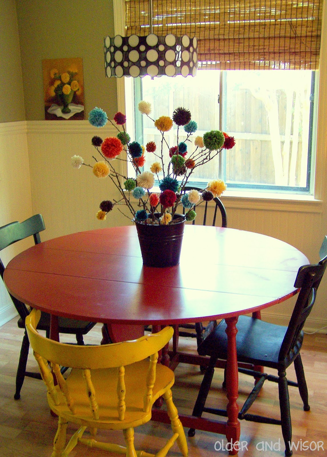 Older and wisor pom trees a free centerpiece idea for Small kitchen table centerpiece ideas