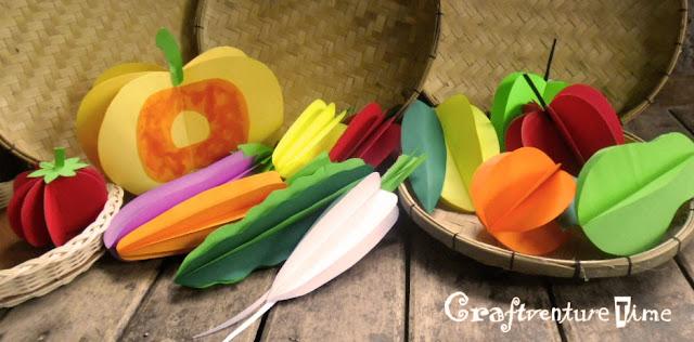 Vegetable carving for school children - Craftventure Time 3d Paper Fruits And Vegetables
