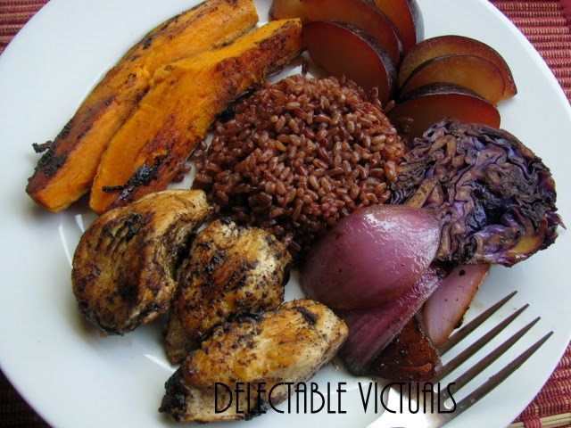 Bhutanese Red Rice with Sweet Potatoes, Plums and Sesame Chicken