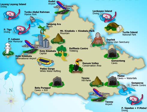 Sabah Map For Tourism