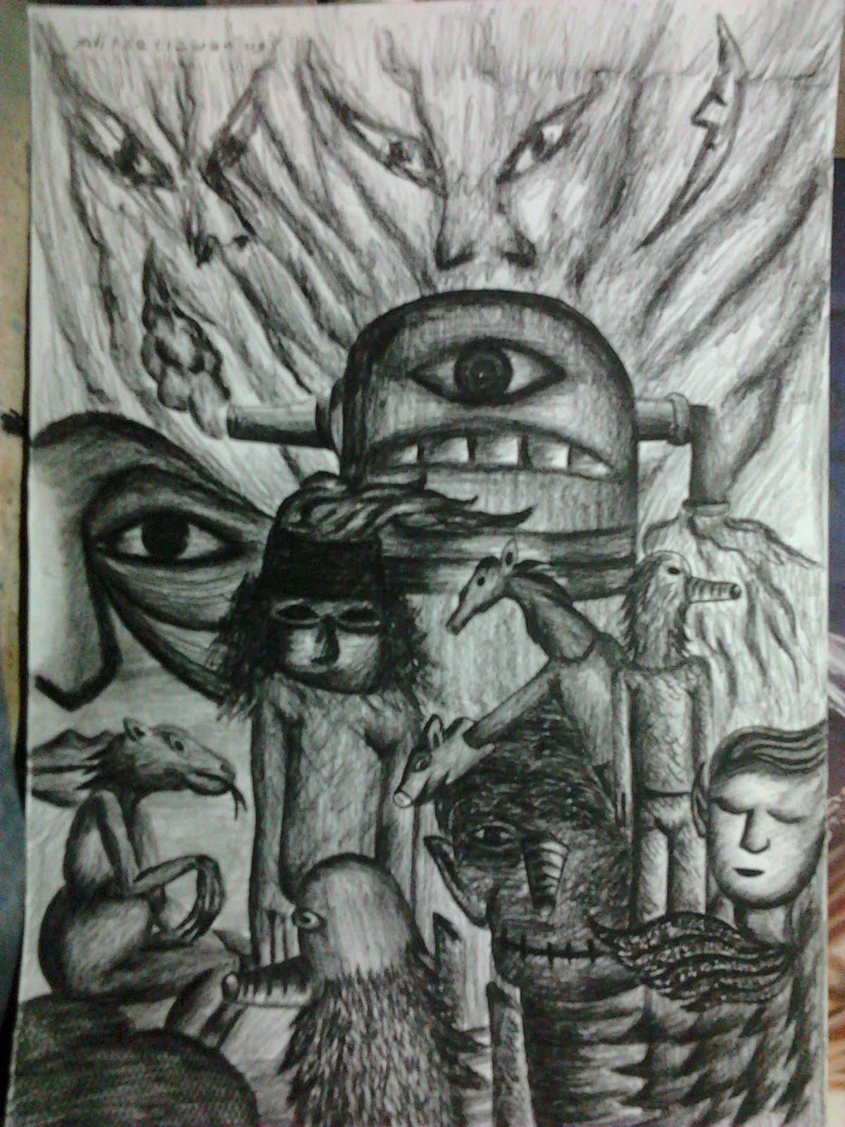 seni rupa  Beberapa karya drawing dengan berbagai macam media