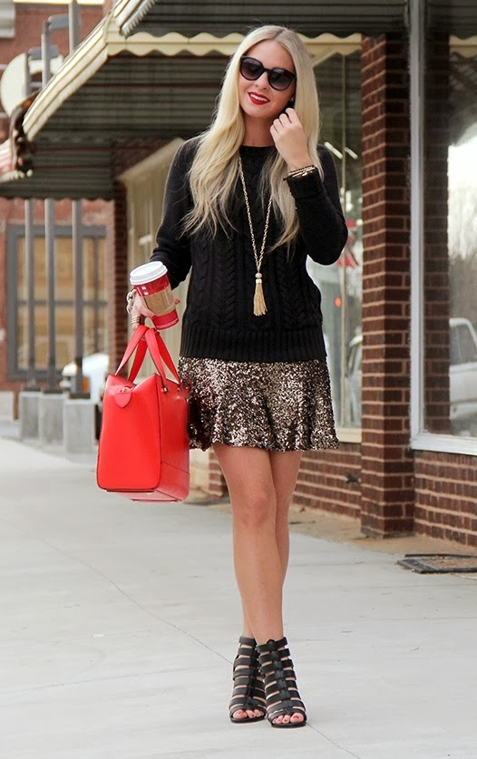 Express gold sequin flippy skirt outfit