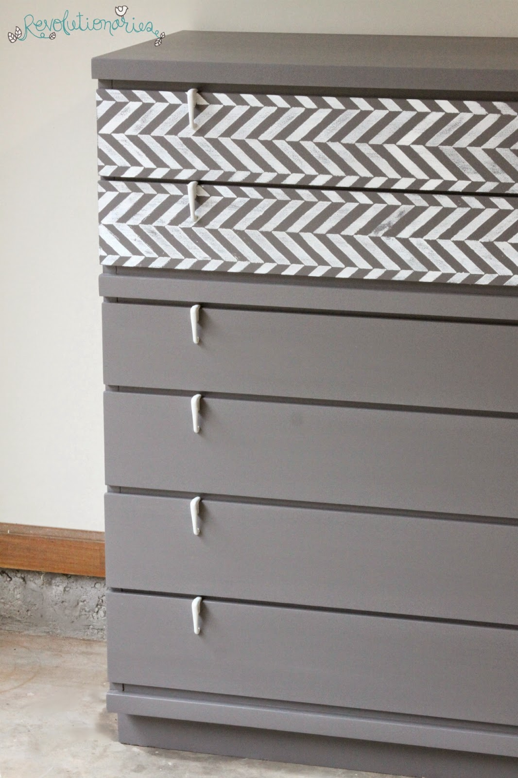 Before and After: Herringbone Mid-Century Dressers!