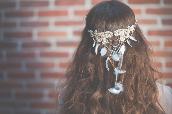 Ozdoba do włosów, fascynator ślubny boho.