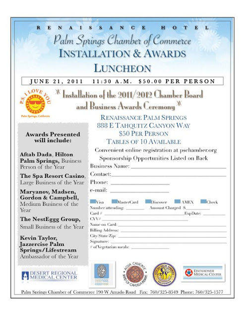 June 21 - Palm Springs Chamber of Commerce Installation and Awards Luncheon