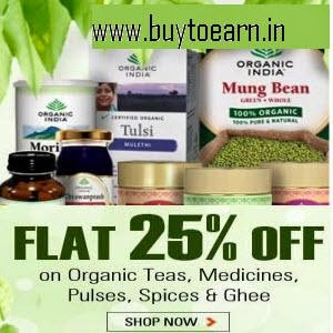 Indiatimes: Buy Organic India Product 25% off + Rs.20 Paytm cashback from Rs.75