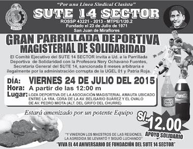 PARRILLADA DE SOLIDARIDAD COORDINACIÓN Y CONFIRMAR PEDIDOS CON LA PROF. SONIA ACUÑA 989767095