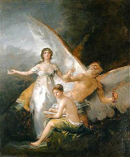 Reproducción del cuadro de Goya, La Verdad, el Tiempo y la Historia, 1812-1814