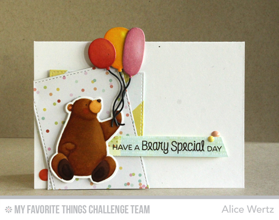 Beary Special Day Card by Alice Wertz featuring the Birdi Brown Birthday Bears stamps and DIe-namics and the Birthday Balloons Die-namics #mftstamps