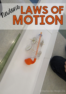 STEM Challenge featuring Newton's Laws of Motion! Students build models of cars that are propelled forward on a straight track! Which Law of Motion is this?