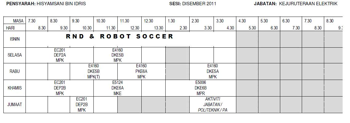 Jadual Waktu Sesi Dis 2011