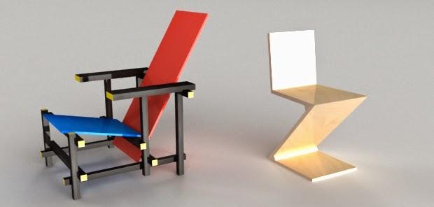 Daniel guti rrez 3d silla roja y azul y silla zig zag for Silla roja y azul