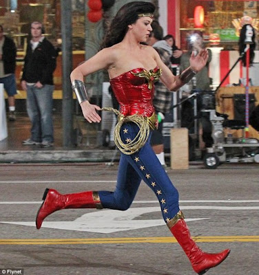 Adrianne Palicki running as Wonder Woman