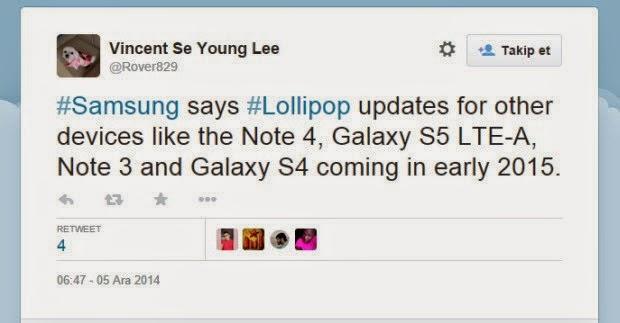 Samsung Lollipop güncelleme tarihini verdi