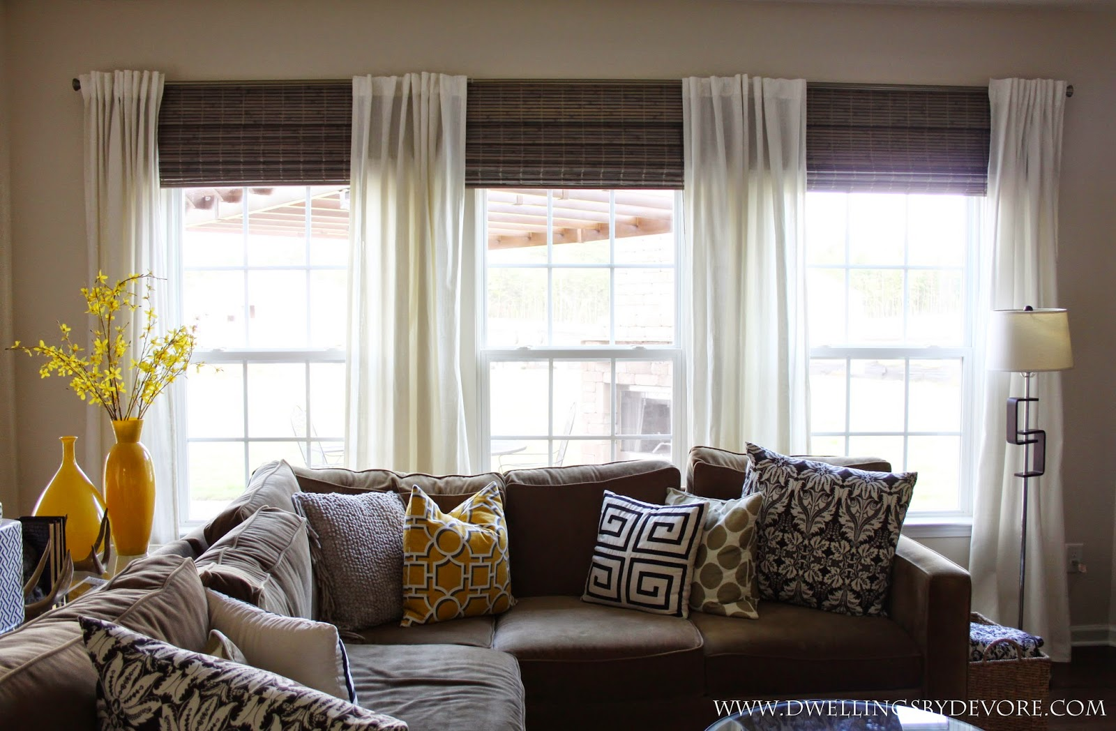 dwellingsdevore: bamboo shades to make your windows look larger