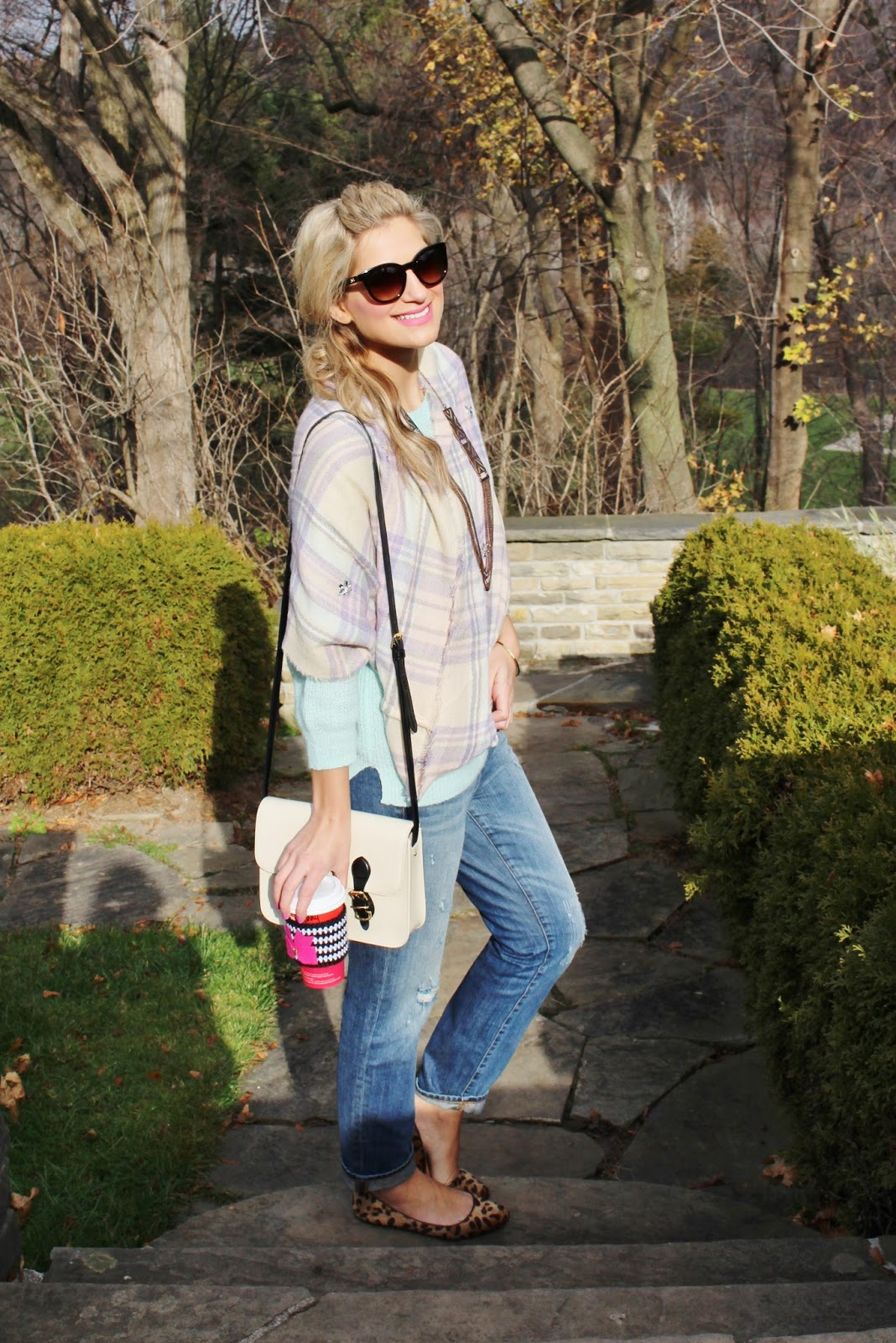 Bijuleni- plaid scarf with jeans weekend look