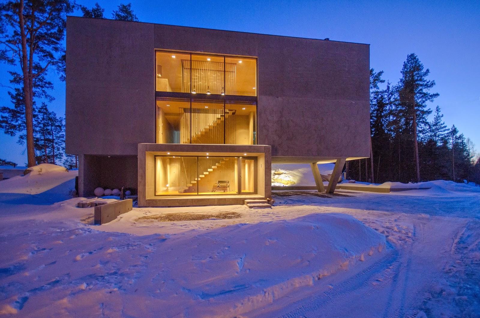Dieses betonhaus ist das ergebnis einer starken vision der architekten und hausbesitzer und belegt daß rauer beton richtig kombiniert ruhig und gemütlich