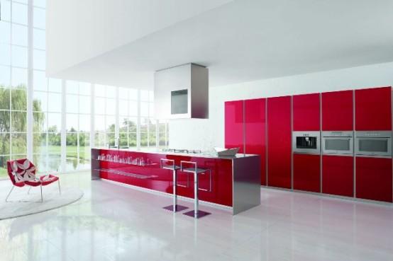 Cocina moderna con matices rojo y blanco de doimo cucine for Diseno de cocina para exteriores