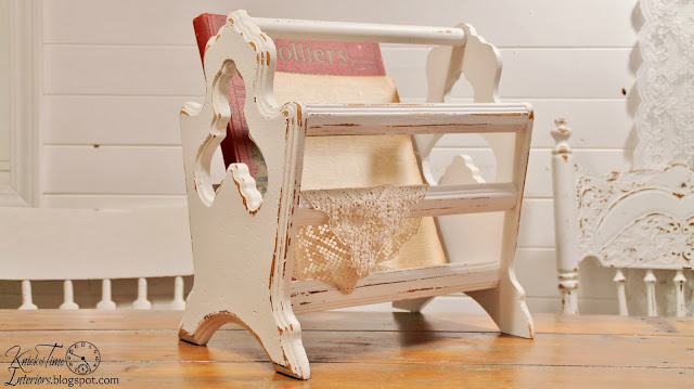 Cottage White Wooden Magazine Rack available from Knick of Time